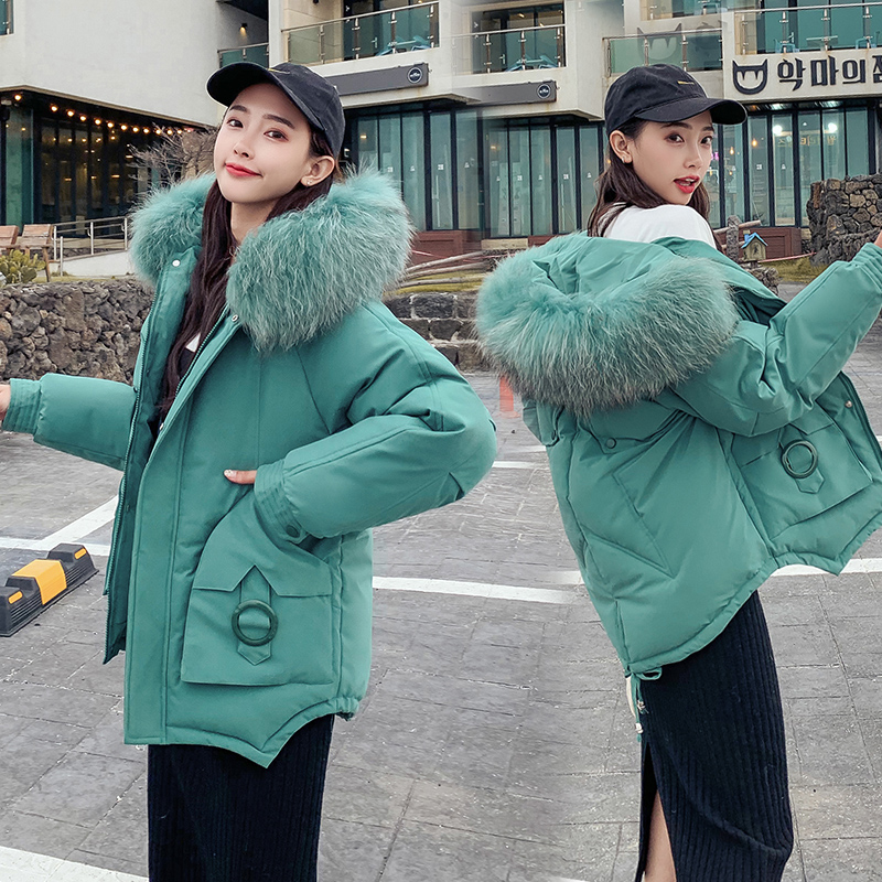 Women Winter Coats Short Fur Collar   Parka   Hooded Slim Korean Jacket For Female Cotton Winter   Parka   Down Basic Jackets