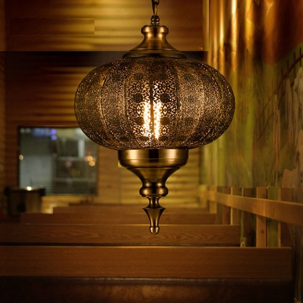 Loft Stile Hollow Ferro Droplight Industrial Vintage LED Lampade a Sospensione Sala da pranzo Lampada A Sospensione Decorazione di Illuminazione Interna - 3