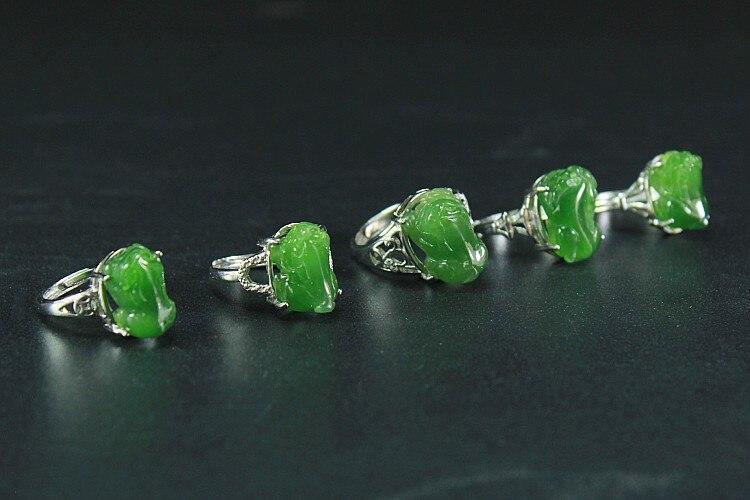 Jade naturel Xinjiang Hetian Jade vison anneau S925 argent-incrusté anneau d'ouverture bijoux pour hommes et femmes