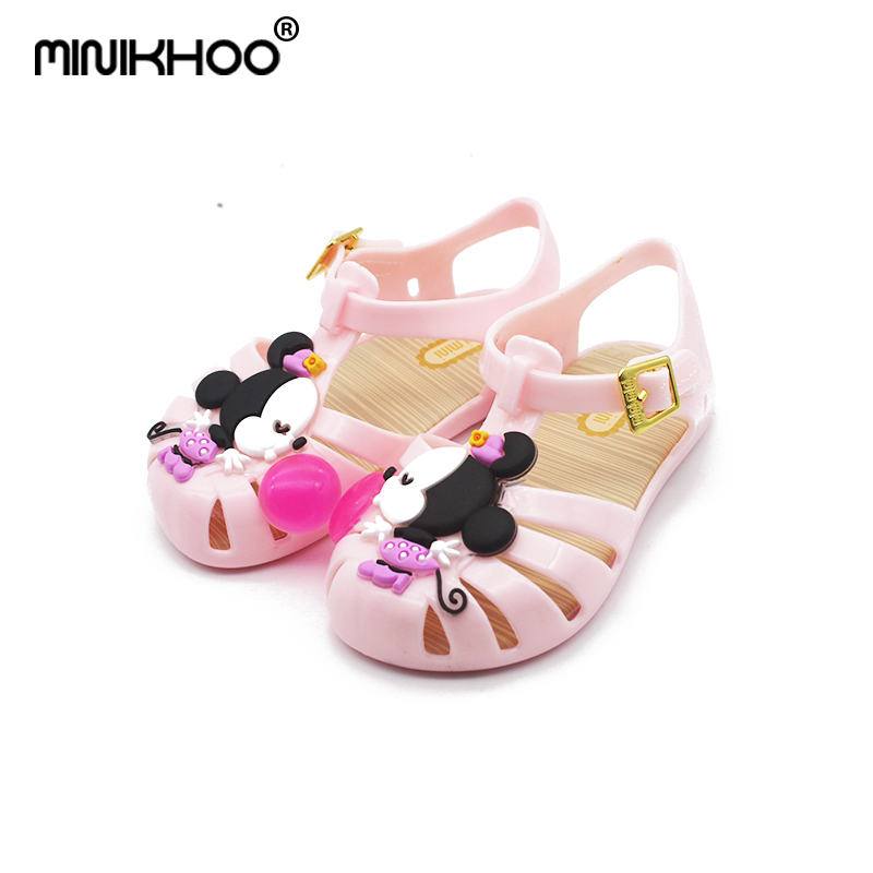Mini Melissa Mickey & Minnie Jelly Sandals 2018 Children Shoes Melissa Girls Shoes PVC Kids Sandals Mini Melissa Girls Sandals