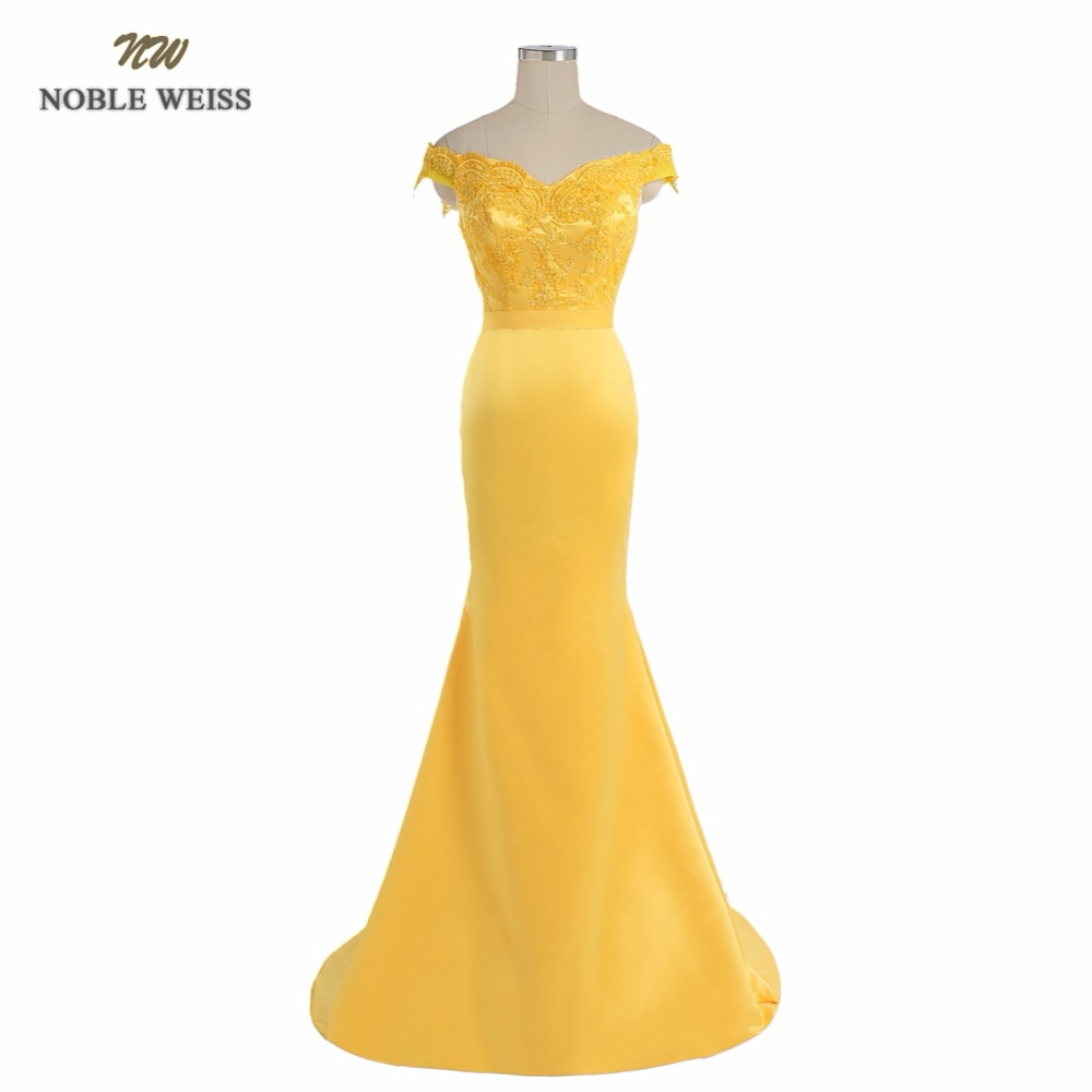 NOBLE WEISS Yellow Evening Dress Mermaid Appliques Wedding Party Dress With Sweep Train Cheap Prom Gown Custom Made