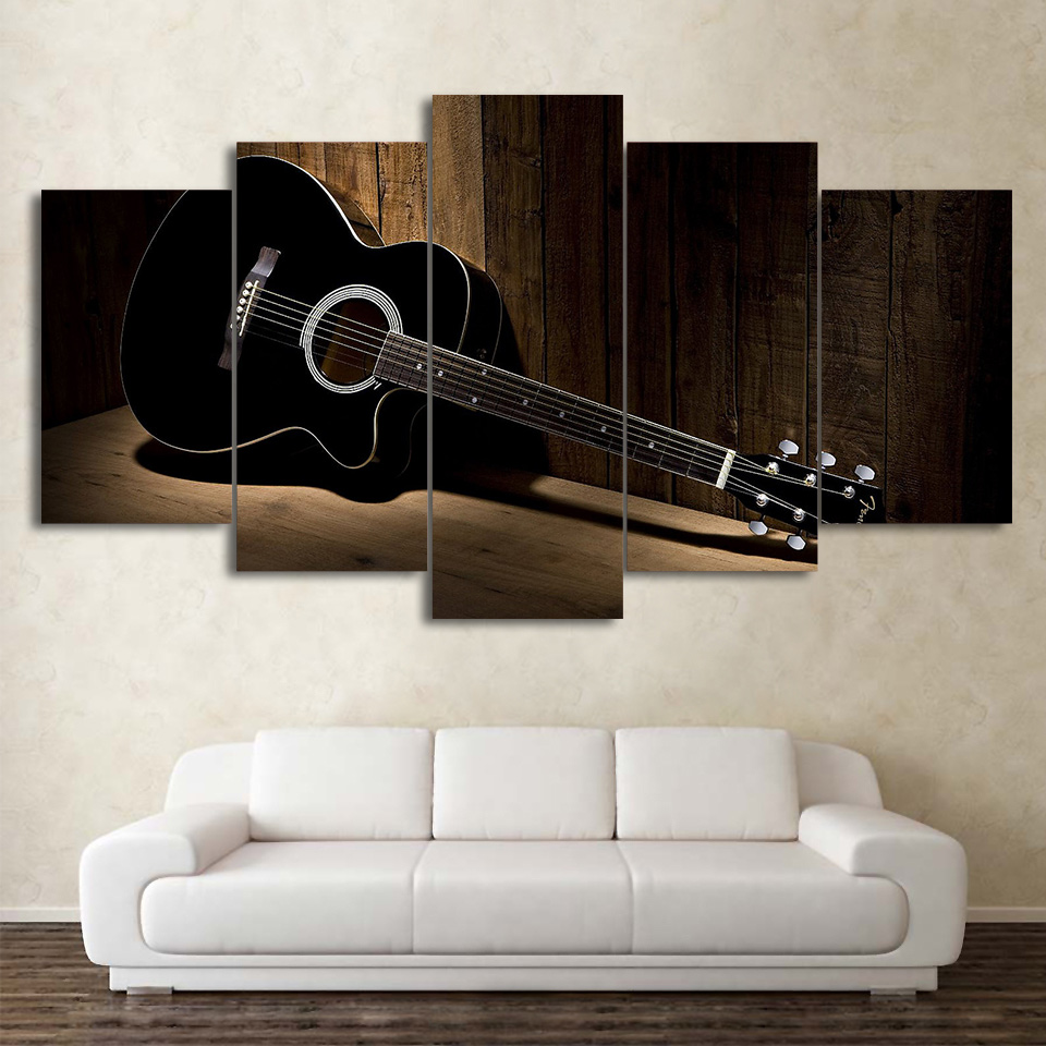 music guitar painting vintage 5 piece canvas wall art printed picture home decor ebay. Black Bedroom Furniture Sets. Home Design Ideas