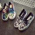 Бесплатная Доставка Моды Холст Обувь Скольжения на Paltform Обувь Граффити Бездельники Размер 36 ~ 40