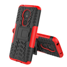 For Motorola Moto G7 Power/G7 Play Case Dual Layer Tire Pattern Shockproof Armor Cover With Kickstand Power
