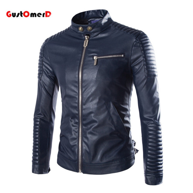 Hot Sale Casual Solid Leather Jacket Men Stand Coller Motorcycle Outwear Coat Special Process Slim Leather Jacket Men