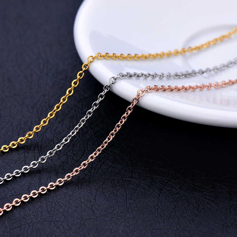Prata de aço inoxidável ouro rosa cor ouro corrente colar moda jóias para mulher ajuste pingente 1.6mm 2mm 2.3mm comprimento 45 + 5 cm