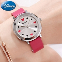 2018 New Girl Watch Original Disney Heart Cute Gift Clock Women Leather Safe Buckle Band Quartz Mickey Relojes Mujer DC 51059