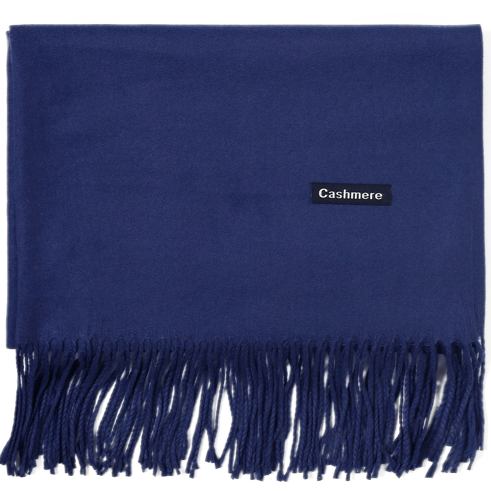 Fashion Cashmere   Scarf   Shawl Solid Autumn Winter   Wrap   Warm High Quality Soft Hijab Thick Lady Women Pashmina Wool Luxury Navy