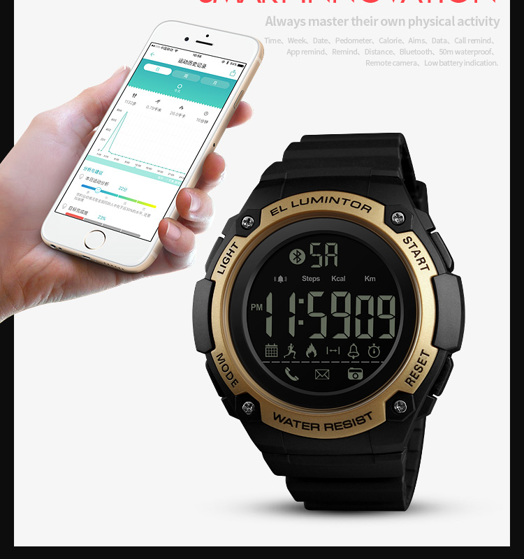 SKMEI 2019 New Bluetooth Sport Smart Watch Men Waterproof Calories Pedometer digital SmartWatch For IOS Android (3)