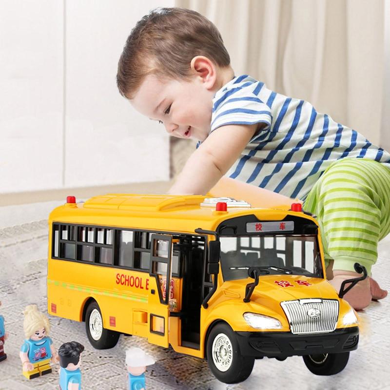 Children school bus toy model simulation large kindergarten boy musical lighting inertia car