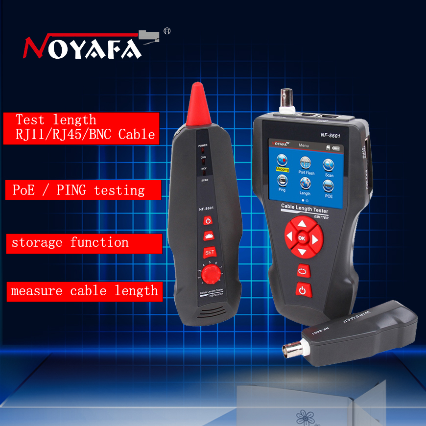 Original Noyafa Multi-functional Network Cable Tester LCD Cable length Tester Breakpoint Tester English version NF-8601 not box noyafa nf 8601 multi functional network cable tester lcd cable length meter breakpoint tester rj45 telephone line checker eu