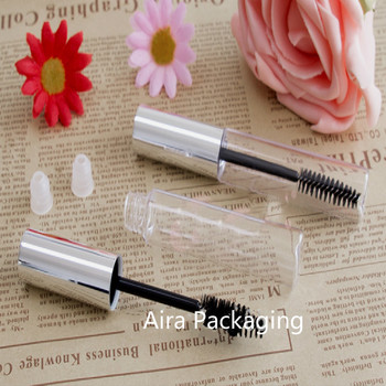 10ML Empty Clear Mascara Tube with Silver Cap DIY Plastic Graceful Cosmetic Eyelash Cream Container 50pcs/lot