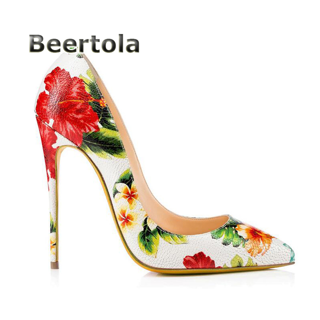 330de757caf81e 2018 Women Designer Shoes Flower Heels Fashion Shoes Women Floral Prints Shoes  Woman High Heels Pumps Pointed Toe Stiletto Heels