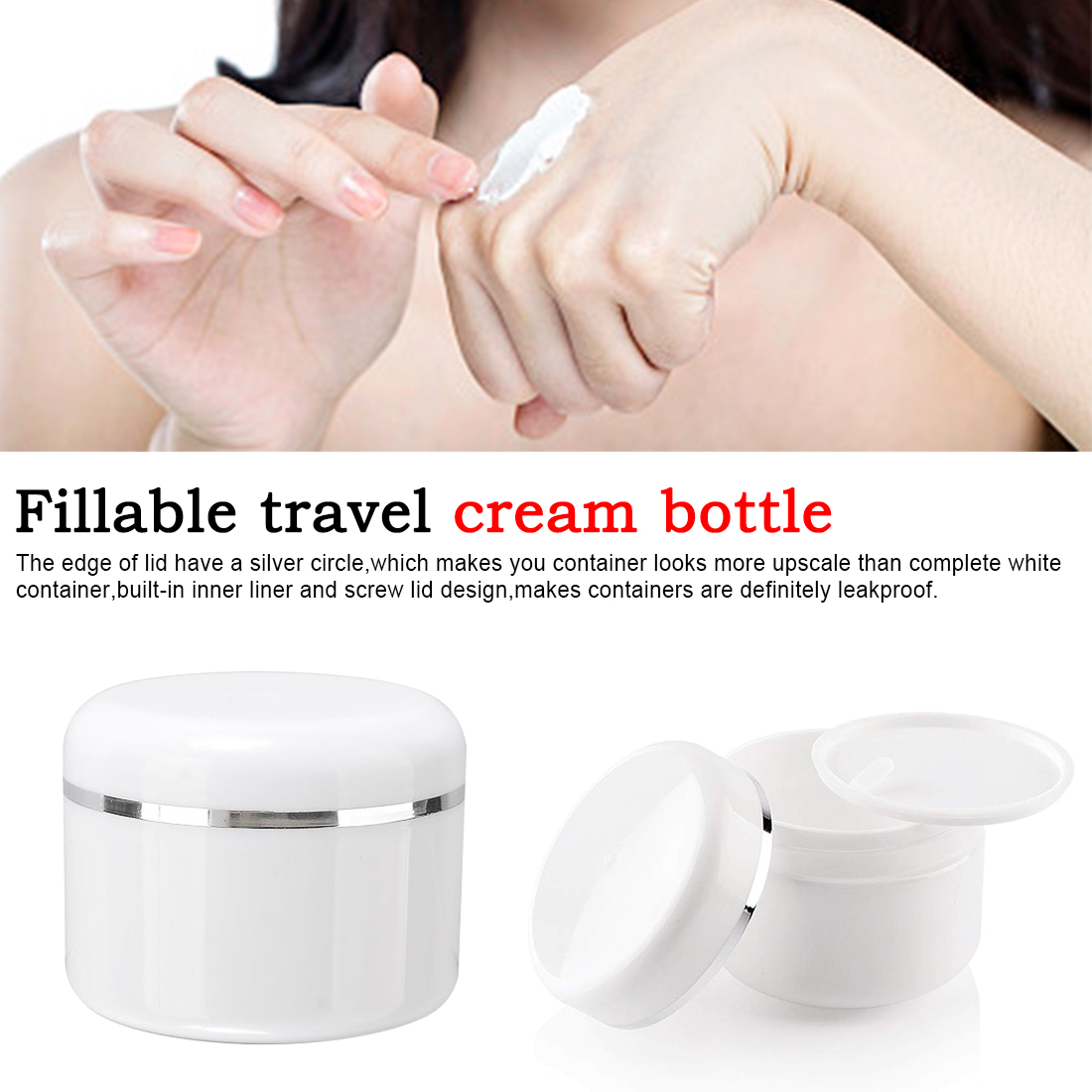 1 Box Refillable Bottles Travel Face Cream Lotion Cosmetic Container Plastic Empty Makeup Jar Pot 20/50/100/250g