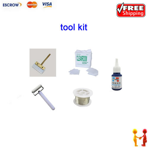 ФОТО Freeshipping!! Portable UV glue balde, non-dust cloth,cutting wire,roller,glue remover, for cleaning screen