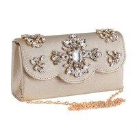 Punk Diamonds Evening Bags Rock Floral Clutches Cover Open Flap Bag Trendy Beading Handbag Female Long Chain Shoulder Bag