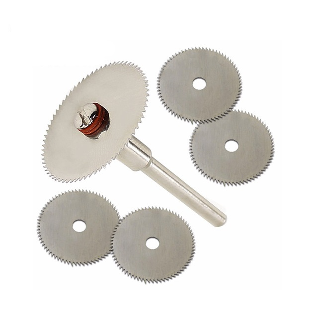 6 pçs/set Mini Lâmina de Serra Circular HSS Rotary Ferramenta Para Ferramenta de Poder Cortador de Madeira Conjunto de Discos De Corte De Metal Dremel Broca mandril de Corte