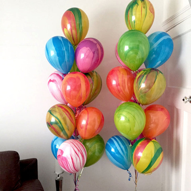 12inch 20pcs Colorful Agate Latex Balloons Marble Rainbow