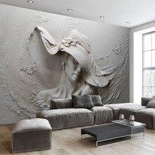 Özel duvar kağıdı 3D stereoskopik kabartmalı gri güzellik yağlıboya Modern soyut sanat duvar resmi oturma odası yatak odası duvar kağıdı