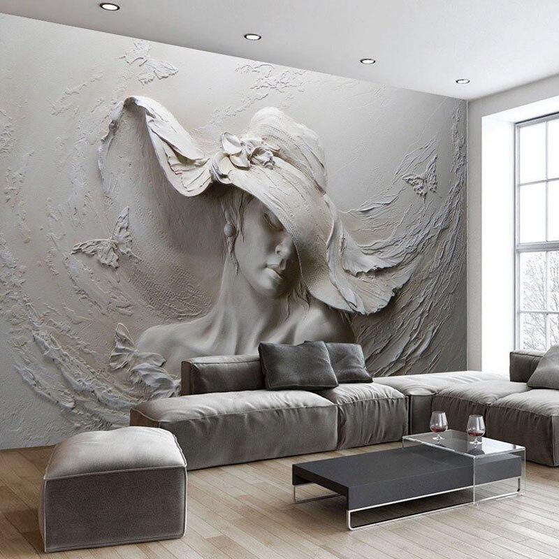 US $7.98 51% OFF|Benutzerdefinierte Tapete 3D Stereoskopischen Geprägt Grau  Schönheit Ölgemälde Moderne Abstrakte Kunst Wandbild Wohnzimmer ...