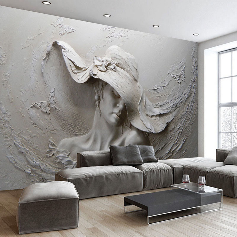 Custom Wallpaper 3D Stereoscopic Embossed Gray Beauty Oil Painting Modern Abstract Art Wall Mural Living Room Bedroom Wallpaper winner women luxury brand skeleton genuine leather strap ladies watch automatic mechanical wristwatches gift box relogio releges