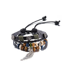 2017 Style Charm Cute Angel Wing Pendant Bracelets Wristband Multilayer Leather Strap Bracelets Punk Women Woven Rope Jewelry