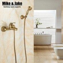 Mezclador de ducha de latón antiguo para baño, conjunto mezclador de ducha de baño con ducha de estilo vintage de mano, conjunto de ducha antiguo