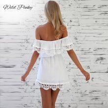 2019 Summer New Fashion Women Elegant Stylish Sexy Slash Neck Casual Vintage Sweet Lace White Dress Slim Beach Dress