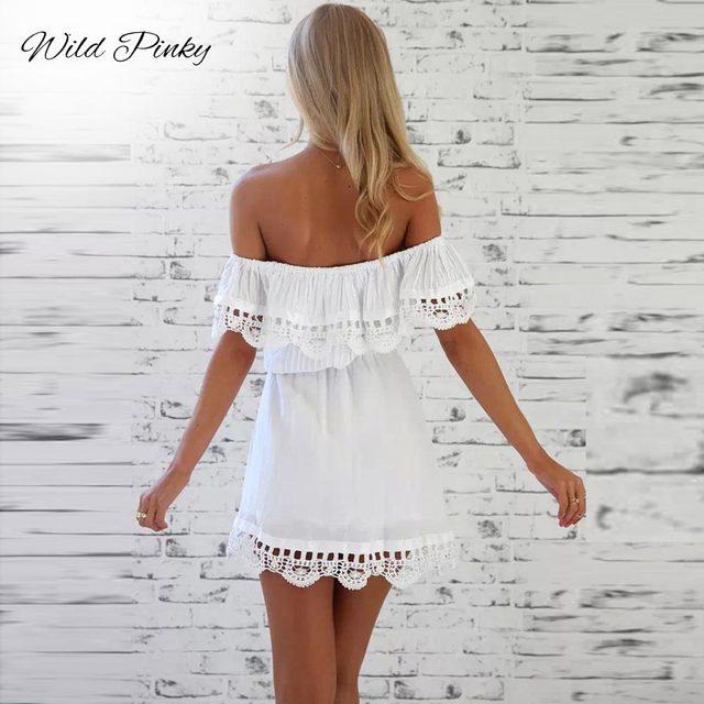 Women Elegant Stylish Sexy Slash Neck White Dress