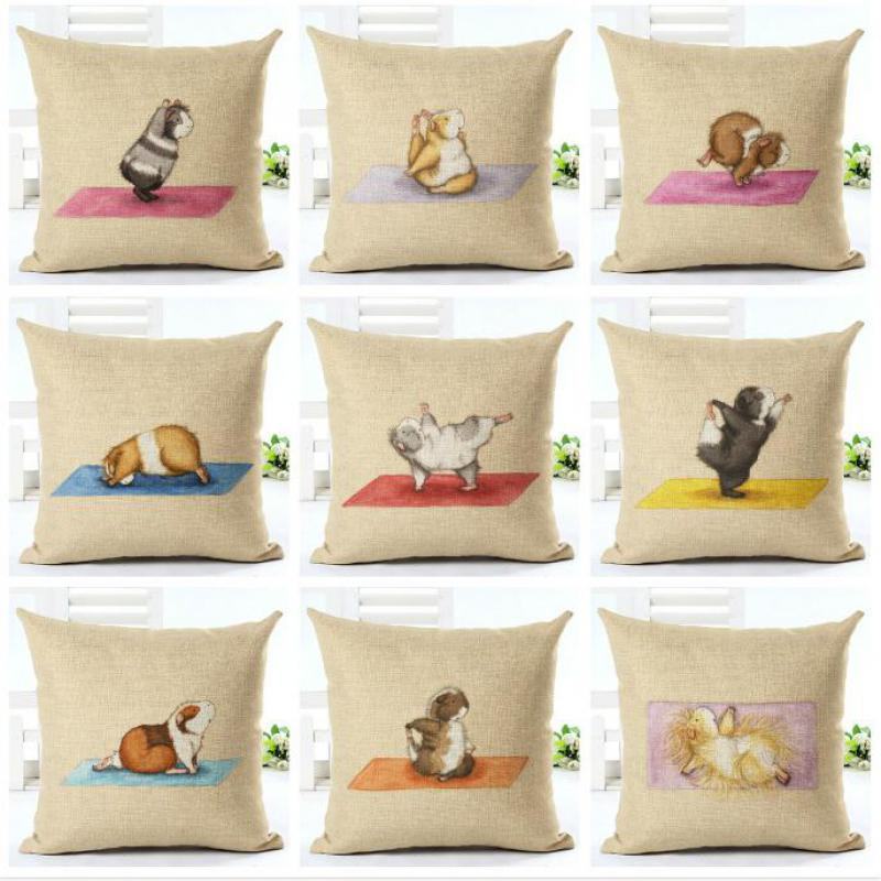 New Mini Decoration Guinea Pig Pillow Case Cute Cartoon Animal Cushion Cover Clear Stamp Pattern Best Gift For Kids