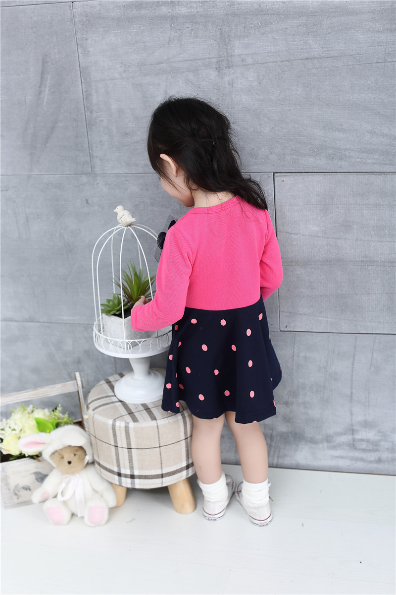 New Designer Kids Clothes Baby Dot Lace Dress For Girls Knitted
