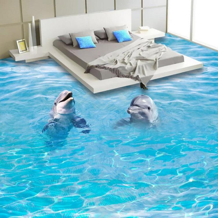 ... Professional HD 3D Floor Mural Design Bathroom Floor Wallpaper Dolphin  Design Waterproof PVC Wallpaper ...