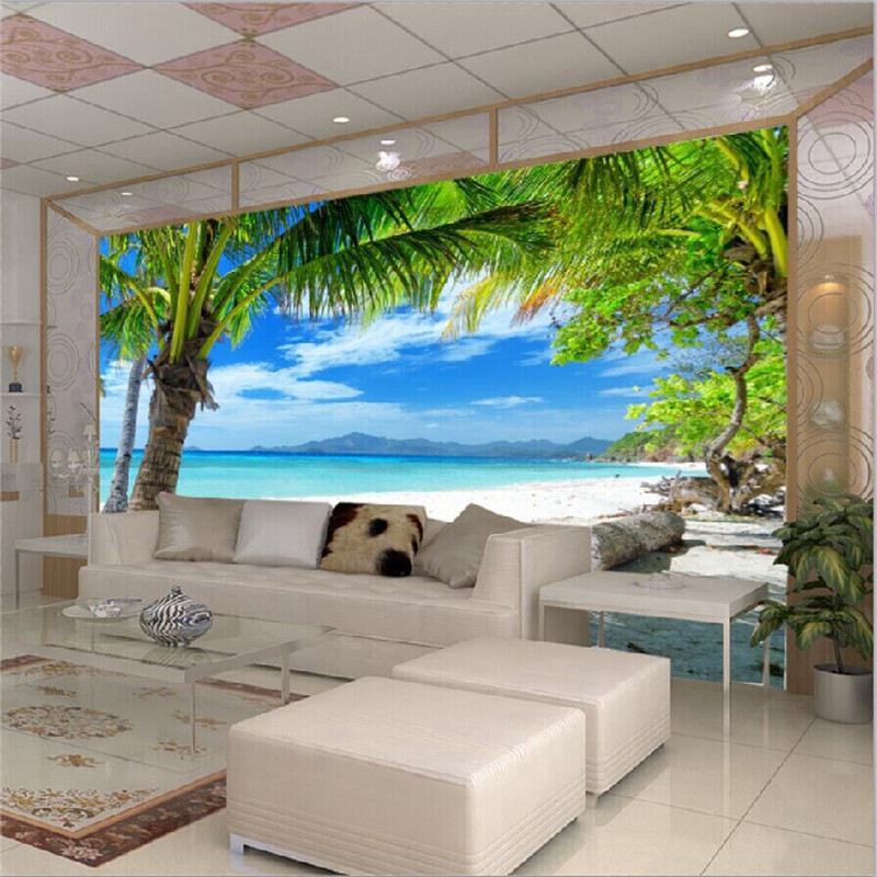 Modern Home Custom Mural Wallpape Sofa Bedroom Tv Backdrop Wall Paper Painting Beach Coconut Grove In Wallpapers From