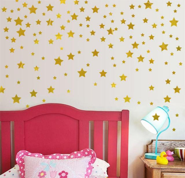 Gold stars pattern vinyl wall art decals nursery room decoration wall stickers for kids rooms home