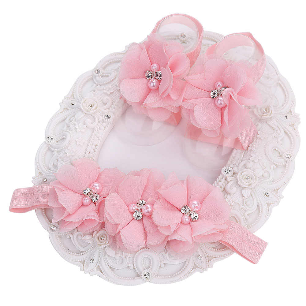 Cheap Christening Baptism Cute Crib Photo Props Baby Girl Shoes Toddler Barefoot Shoes Set;Flower Headband Kids Shoes 2 pcs Set