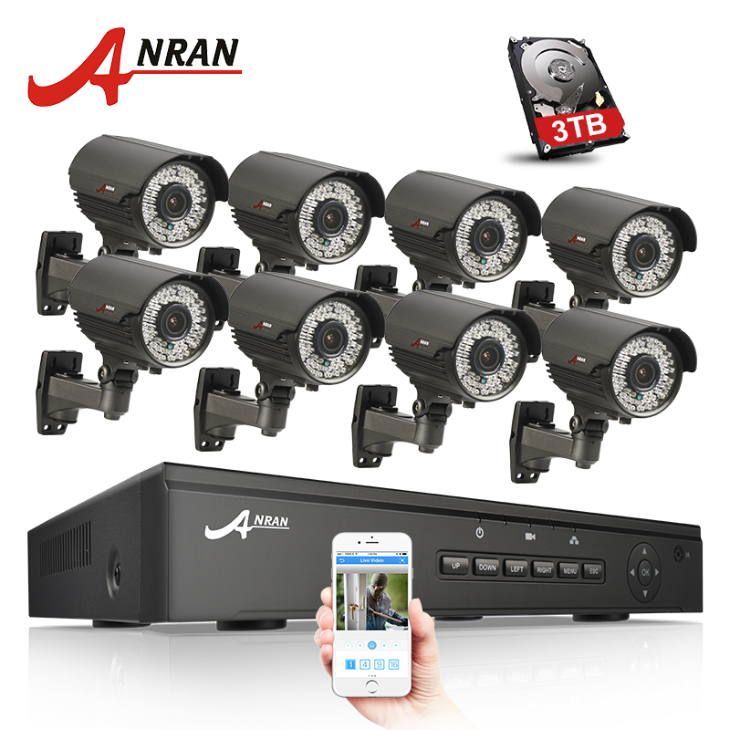 ANRAN New 8CH 48V POE NVR CCTV System Onvif P2P 1080P HD Varifocal 2.8mm-12mm IP Camera POE Security Surveillance Kit 3TB HDD система видеонаблюдения anran security 2 hdd 8 nvr onvif 1080p hd h 264 ir ip 8ch hk02w ip2 0 4