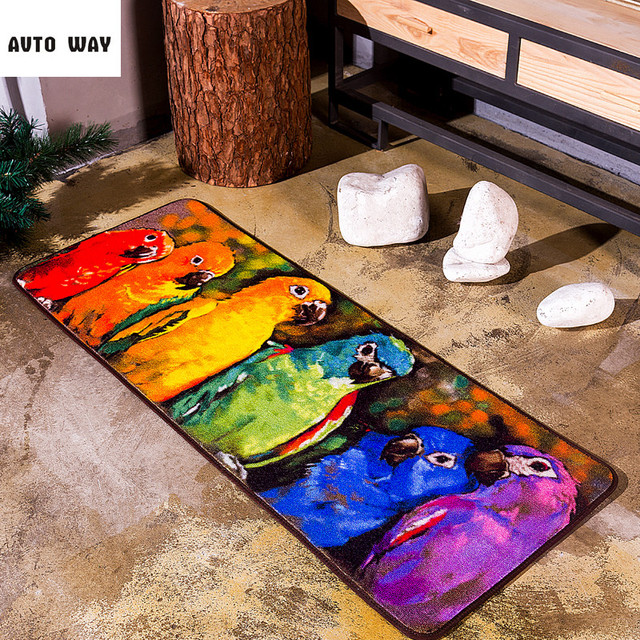 Original Oil Painting Colorful Parrot Carpet Studio Art Mattress Blanket  Kitchen Mat Fashion Living Room Rug