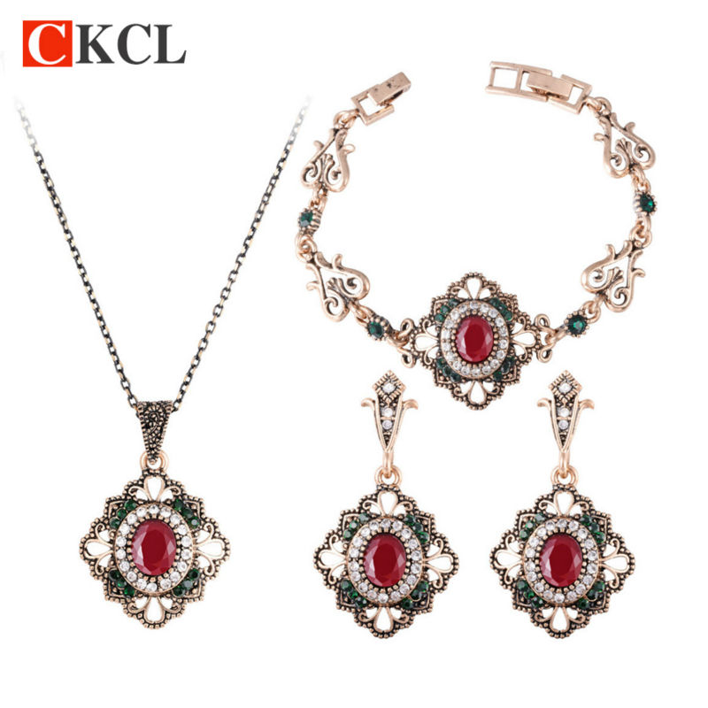 Jewelry-Sets Bracelets Necklaces Earrings Ethnic-Accessories And 3pcs Women for Flower