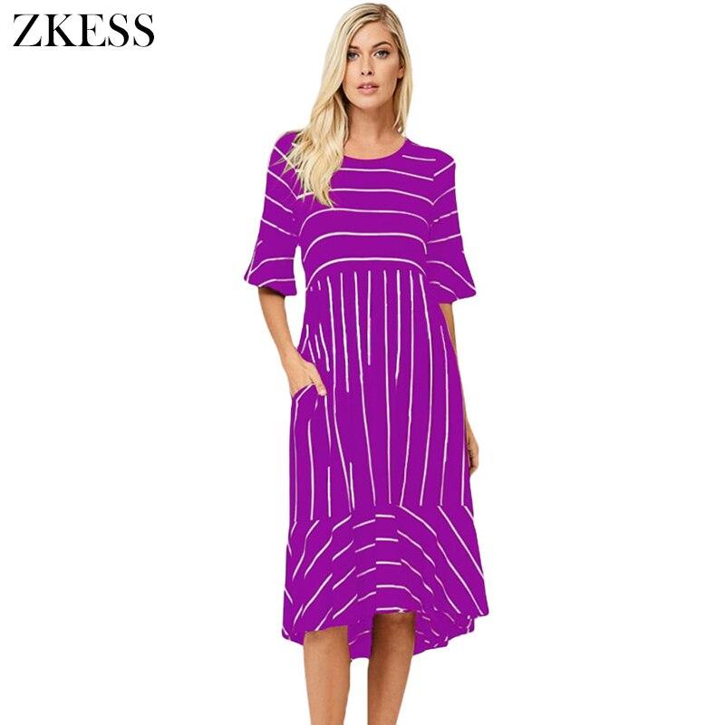 Zkess mujeres rayas medio campana mangas Hi bajo hem vestido de Midi ...