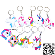 17pcs Silicone Unicorn Keychain Rainbow Charm Keychains Party Favors Supplies Kids Jewelry Key Holder Alloy KeyRing