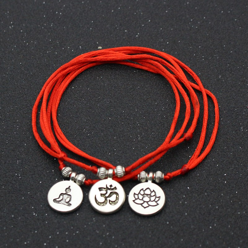Silver Color Metal OM Lotus Charm Red Rope String Anklets For Women Ankle Bracelet Woman Sandals On the Leg Chain Foot Jewelry