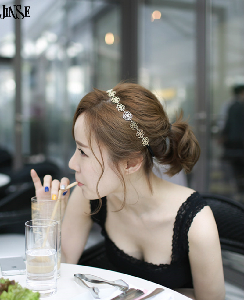 Antique hair jewelry fashion flower headband accessories new hollow rose hairbands gold plated