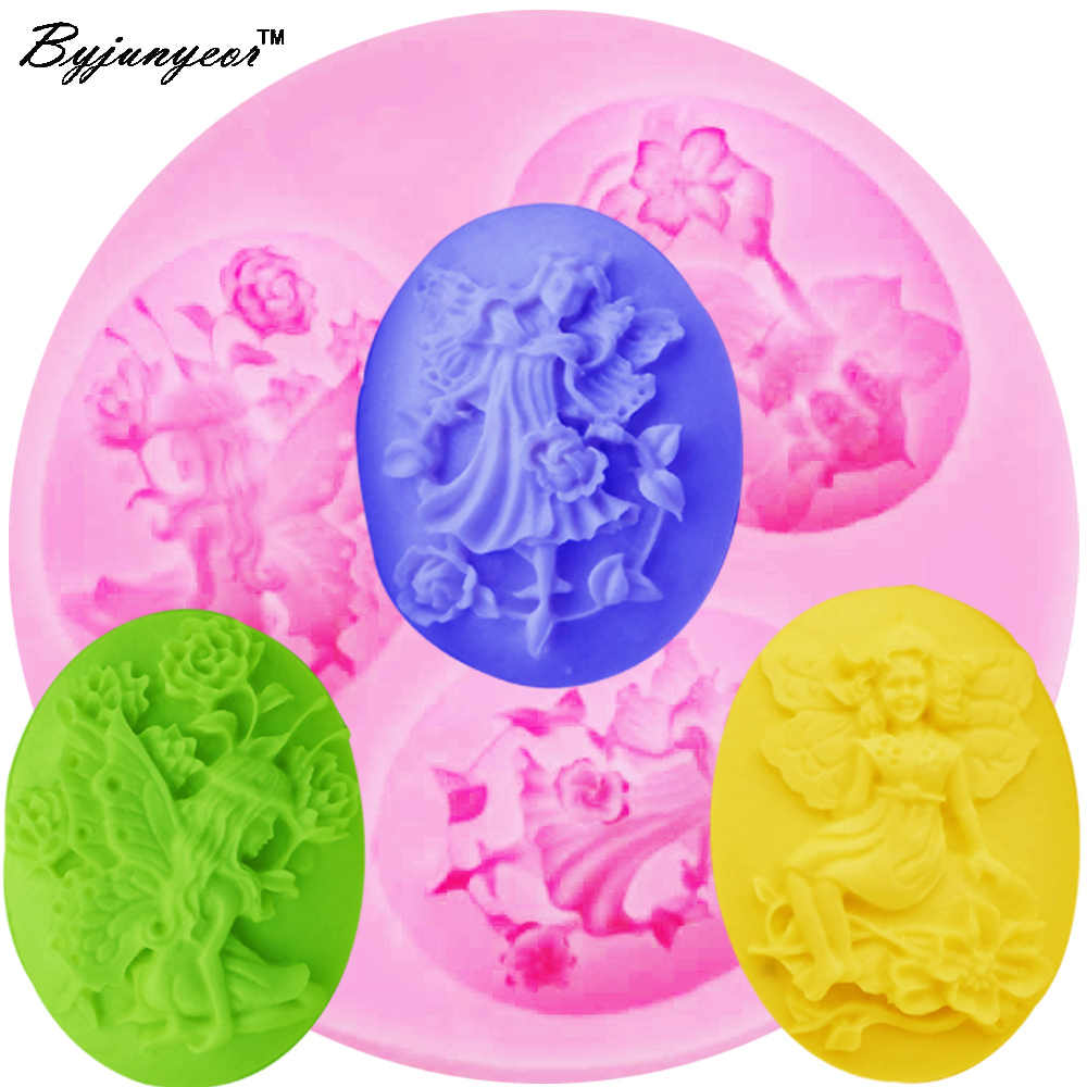 Byjunyeor F1186 Fairy Angel Flower Silicone Mold Baking Tools for Cakes Fondant Chocolate Candy Cake Decorating Tools