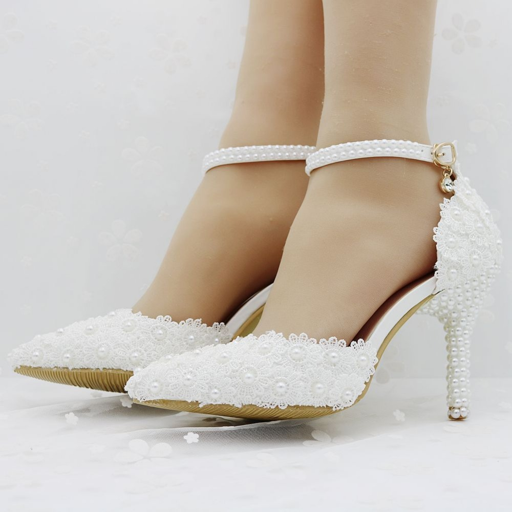 white lace wedding shoes elegant heels thin heels pointed toe high heels wedding lace heels