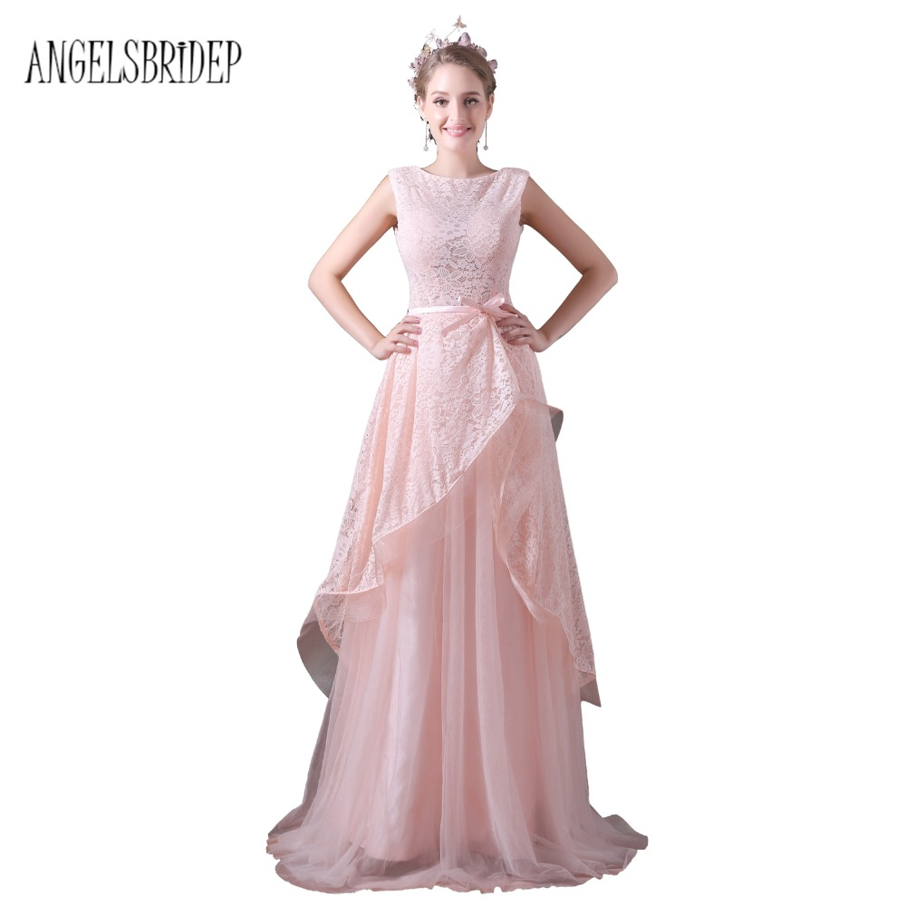 ANGELSBRIDEP Pink Lace Prom Dresses 2018 Long Tulle Party Dresses Long Real Image Evening Gown With Belt