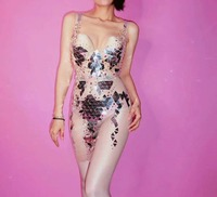Mesh Transparent Ds Elastic Mesh Lens Slim Body Tight Split Trousers Stretch Rompers Stage Dance Wear Sexy See Through Costume