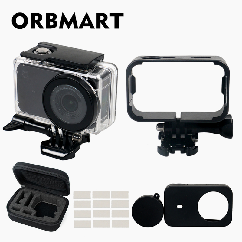 Galleria fotografica ORBMART 5 in 1 Waterproof Case,Frame,Silicone Cover,Bag,Anti-fog Inserts For Xiaomi Mijia Mini 4K Sport Action Camera Accessory