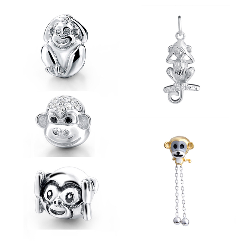 SG cute animal monkey charms beads collection with CZ 925 Sterling Silver Fit authentic pandora Bracelets Jewelry making Gifts