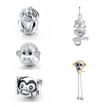 SG cute animal monkey charms beads collection with CZ 925 Sterling Silver Fit pandora Bracelets diy Jewelry making for Gifts sg new arrival 925 sterling silver charms dream catcher beads with cz fit pandora bracelets diy jewelry making for women gifts