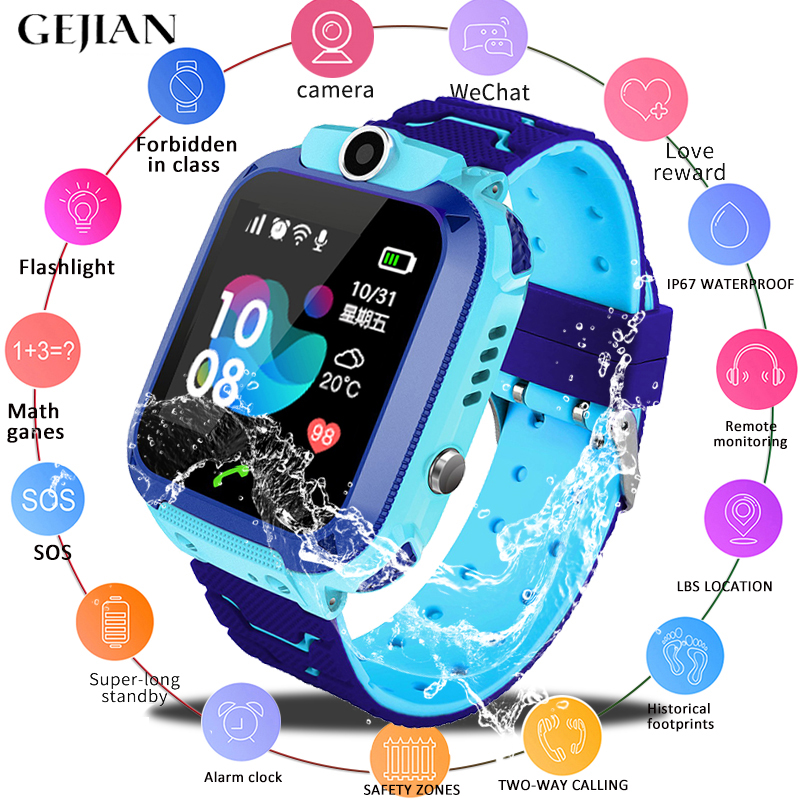 GEJIAN Kids Watches GPS Watch Positioning Tracker SIM Card Call Location Finder Anti-Lost Monitor Camera Photo Children Watch